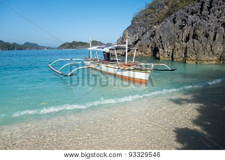Philippines Bangka Boat Anchored At Beach Shore