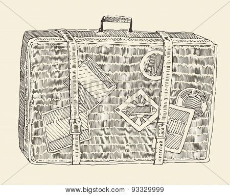 Suitcase Luggage Engraved Retro Hand Drawn Sketch