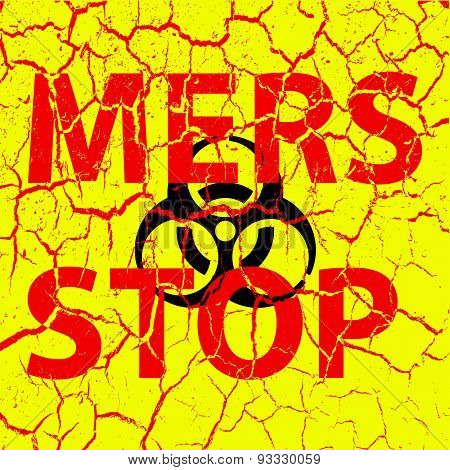 Background Cracks Stop Mers Corona Virus Sign.  Vector Illustrat