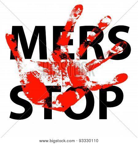Hand Print Stop Mers Corona Virus Sign.