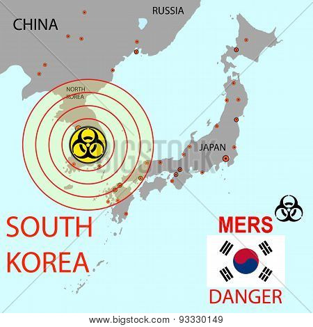 Map The Spread Of Mers Corona Virus.  Vector Illustration