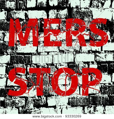 Background Brick Wall Stop Mers Corona Virus Sign.  Vector Illus