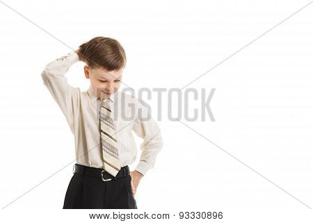 Boy With A Necktie Thoughtful Isolated
