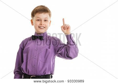 Young Boy With A Bow-tie Showing Thumb Up Isolated