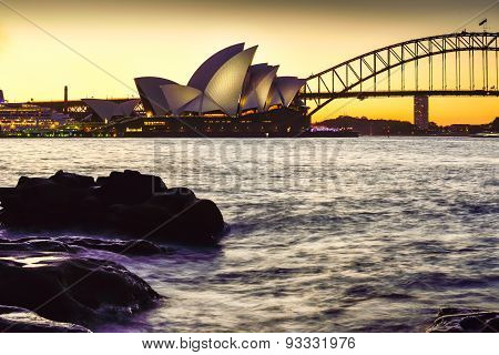 SYDNEY AUSTRALIA - June28, 2015 : View of sunset at Sydney Opera House