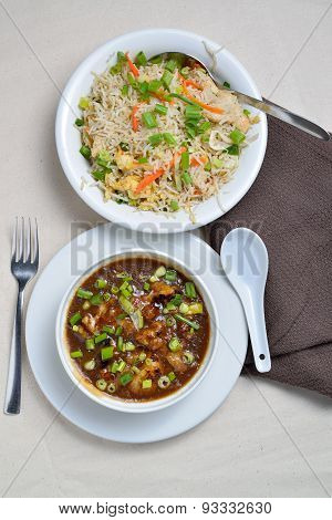 Fried rice with cauliflower manchurian