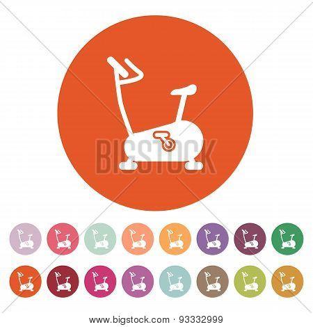 The Exercise Bike Icon. Exercycle Symbol. Flat