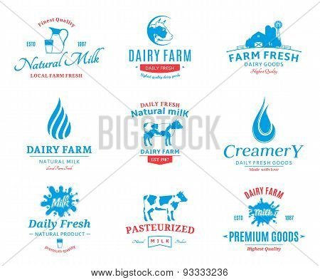 Set of Vector Milk Labels and Design Elements