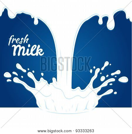 Milk, yogurt or cream blot. White smudge on blue background. Milk label template