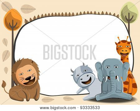 Cute Jungle Animals Illustration And White Frame, Vector