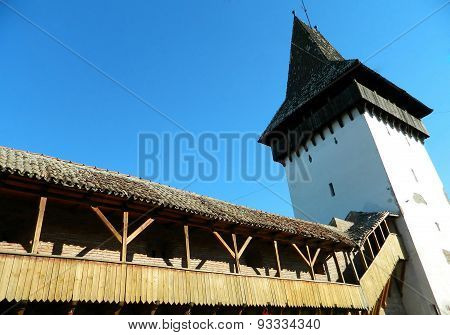 An Old Fortress Tower In The Historic City Center Of Medias, Romania