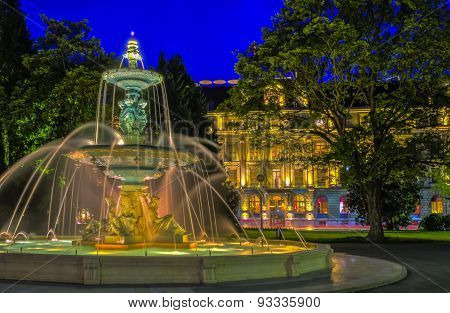 Fountain at the English garden, Geneva, Switzerland, HDR