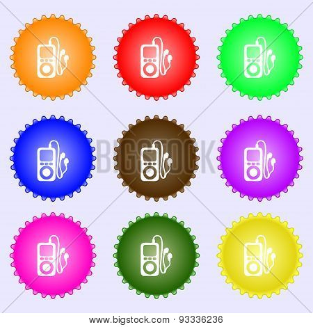 Mp3 Player, Headphones, Music Icon Sign. A Set Of Nine Different Colored Labels. Vector