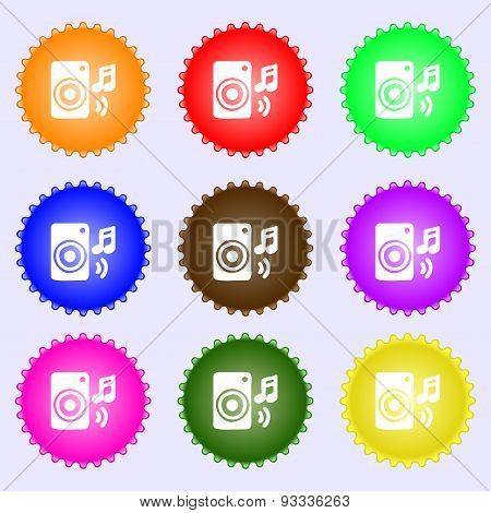 Music Column, Disco, Music, Melody, Speaker Icon Sign. A Set Of Nine Different Colored Labels. Vecto