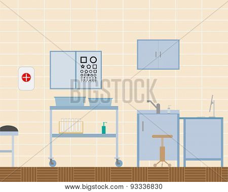 View of the design of the doctor office ophthalmologist. Vector illustration