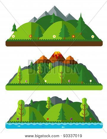Design Nature Landscapes, Hills And Mountains. Natural Landscapes In A Flat Style On White Backgroun