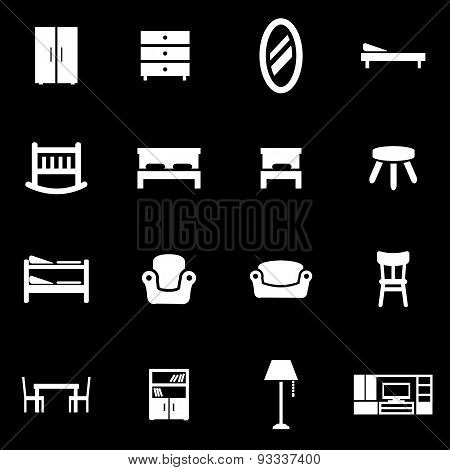 Vector white furniture icon set