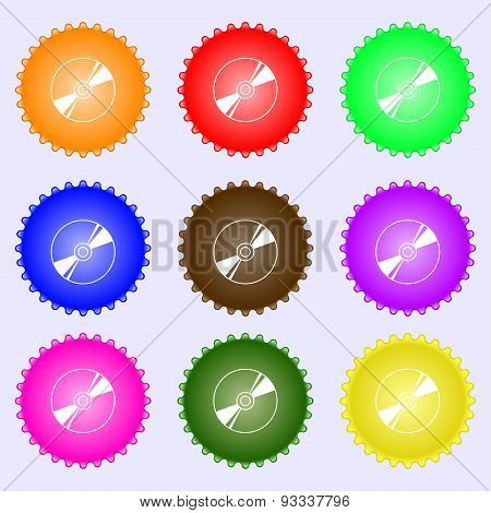 Cd, Dvd, Compact Disk, Blue Ray Icon Sign. A Set Of Nine Different Colored Labels. Vector