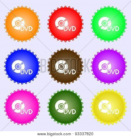 Dvd Icon Sign. A Set Of Nine Different Colored Labels. Vector