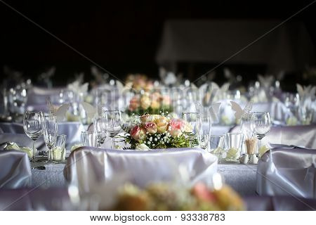 Laid table at a wedding reception
