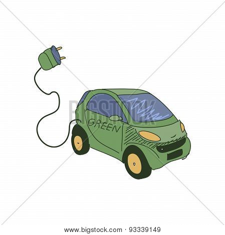 Colored doodle electric car