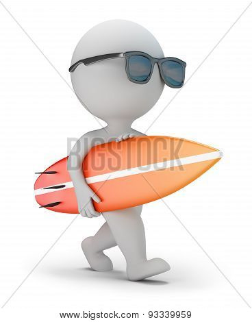 3D Small People - Walk With A Surfboard
