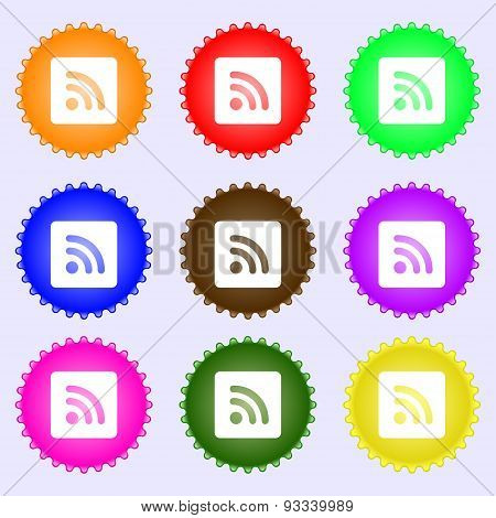 Rss Feed  Icon Sign. A Set Of Nine Different Colored Labels. Vector