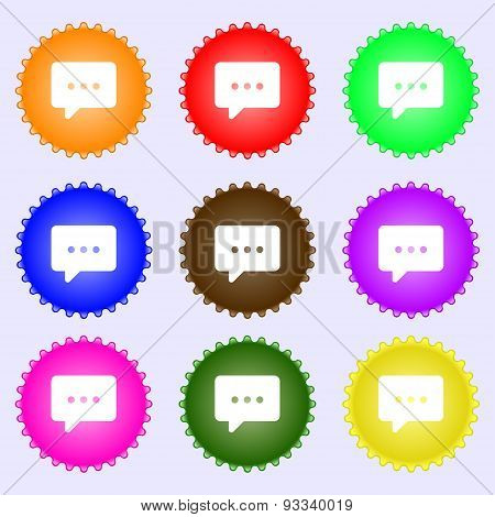 Cloud Of Thoughts Icon Sign. A Set Of Nine Different Colored Labels. Vector