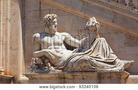 Statue of Tiber (God Tiberinus). Rome, Italy