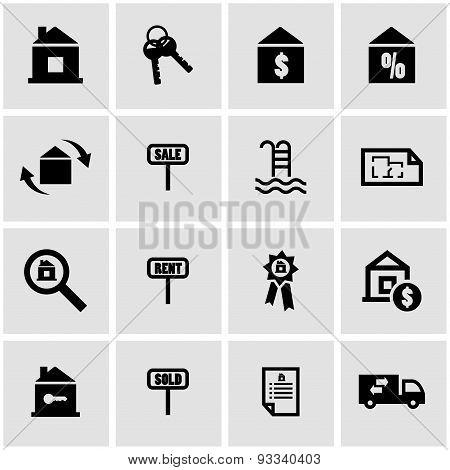 Vector black real estate icon set