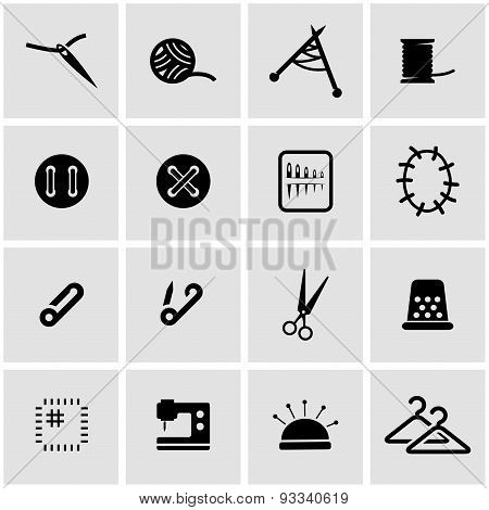 Vector black sewing icon set
