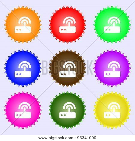 Wi Fi Router Icon Sign. A Set Of Nine Different Colored Labels. Vector