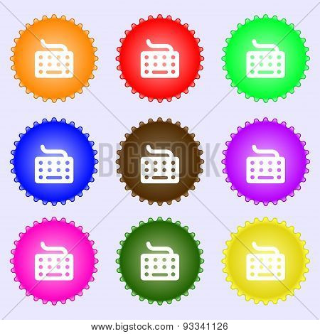 Keyboard Icon Sign. A Set Of Nine Different Colored Labels. Vector