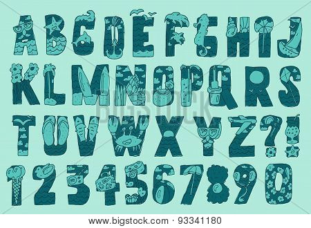 Original Summer Beach Font Type Vector