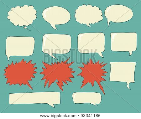 Speech bubbles voice bubble set hand drawing
