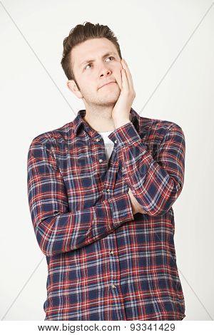 Man Thinking Of Idea Against White Background