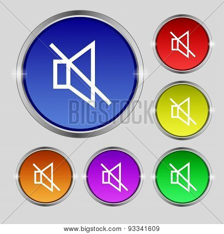 Without Sound, Mute Icon Sign. Round Symbol On Bright Colourful Buttons. Vector