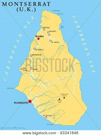 Montserrat Political Map