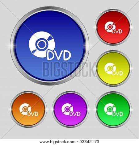 Dvd Icon Sign. Round Symbol On Bright Colourful Buttons. Vector