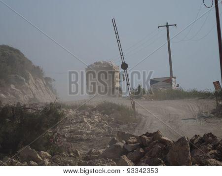 Trucks On Dust Road