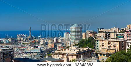 Genoa's harbor and city center. Italy.