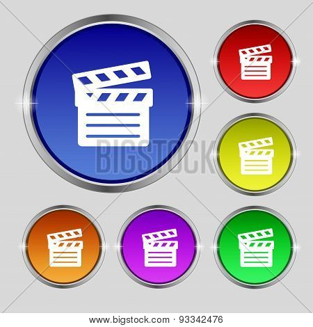 Cinema Clapper Icon Sign. Round Symbol On Bright Colourful Buttons. Vector