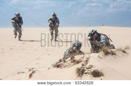 infantrymen in action