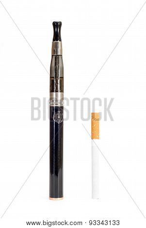 Electronic Cigarette And Cigarette Against White Background