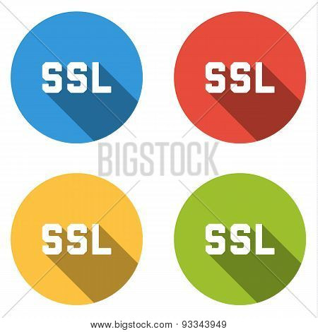 Collection Of 4 Isolated Flat Buttons (icons) For Ssl (secure Sockets Layer)