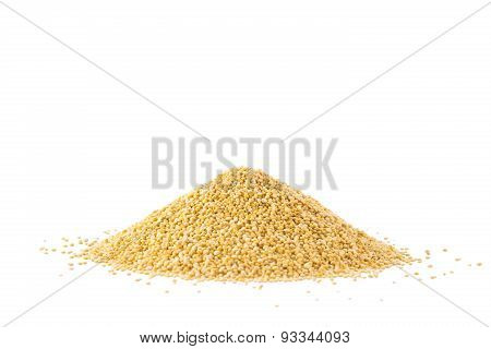 Pile Of Quinoa Seeds Isolated On A White