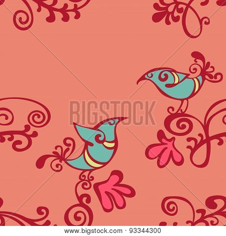 Pattern. Scribble. Vector seamless illustration with the image of branches and birds. Bright picture