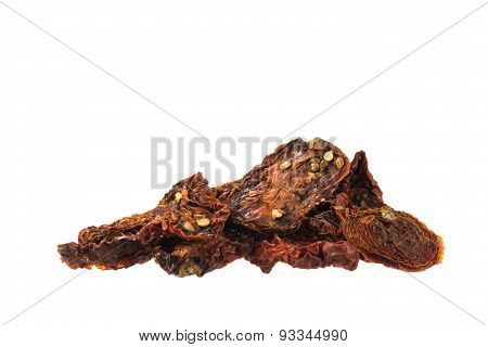 Dried Tomatoes Pile Isolated On White