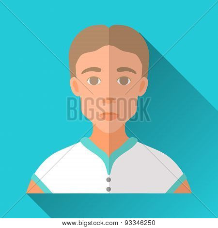 Skinny Young Man In Sport Shirt, Square Flat Icon