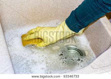 Clean A Granite Sink With A Sponge